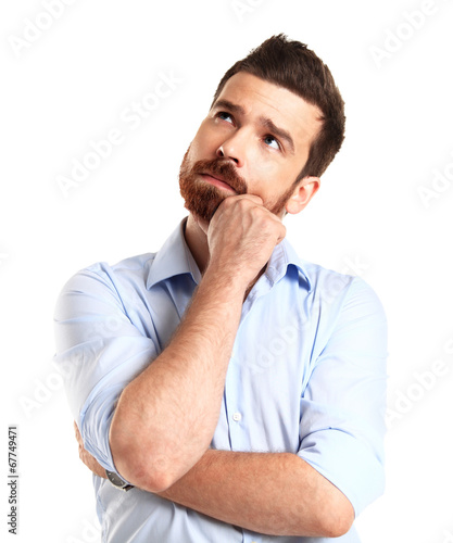 Thinking man isolated on white background