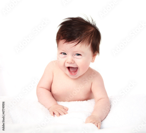 Beautiful expressive adorable happy cute laughing smiling baby