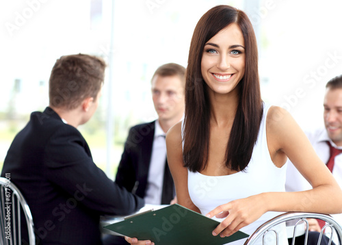 business woman with her staff