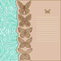 card with butterflies and turquoise pattern