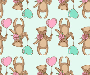 seamless pattern of teddy bears