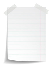 White notebook paper on white background