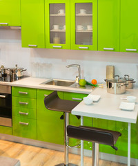 Modern green kitchen clean interior design