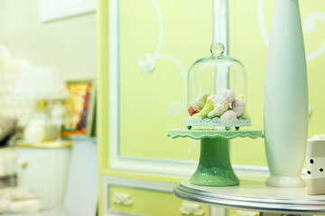 Small candies in room interior