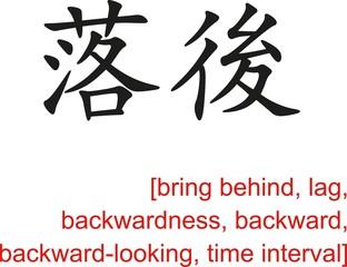 Chinese Sign for bring behind, lag, backwardness, backward