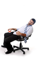 drunk businessman sleeping wasted in office chair