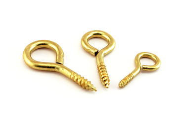 Three golden wall hooks