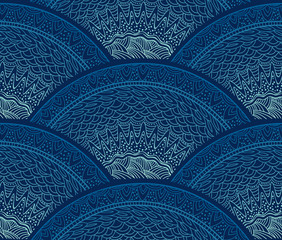 Seamless Abstract Hand-Drawn Pattern. Vector Waves Background.