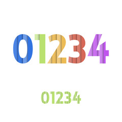 0 1 2 3 4 - Colorful Layered Modern Font
