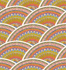 Colorful Seamless Hand-Drawn Pattern. Vector Waves Background.
