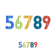 5 6 7 8 9 - Colorful Layered Modern Font