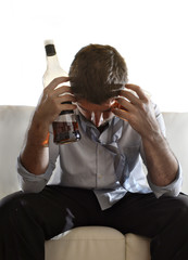 drunk businessman wasted and whiskey bottle : alcoholism