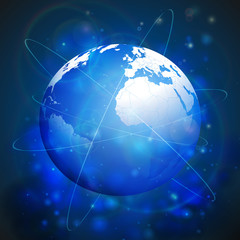 Globe network connections, blue design background vector