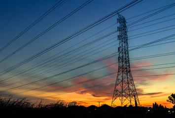 Beautiful silhouette of Power line