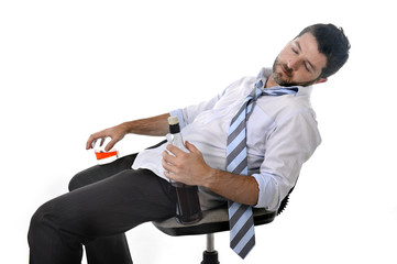 drunk wasted businessman sleeping at office chair