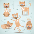Vector illustration with set of ginger cats
