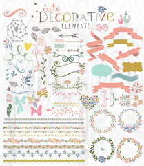 Cute stylish decorative elements vector illustration