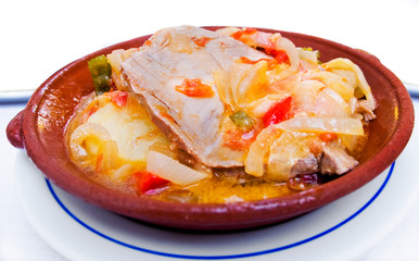 Tuna with onions stew Tavira style, Algarve. Portugal.