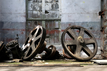 rusty old metal gadgets in an abandoned ship factory