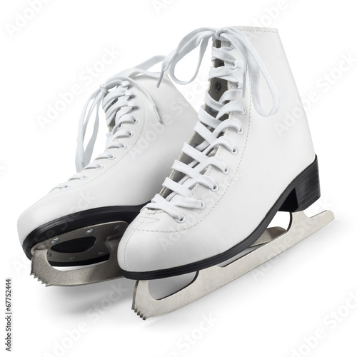canvas print picture Figure skates isolated on white with clipping path