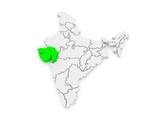 Map of Gujarat. India. poster