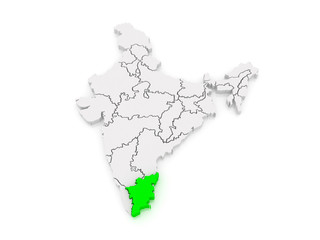 Map of Tamil Nadu. India.