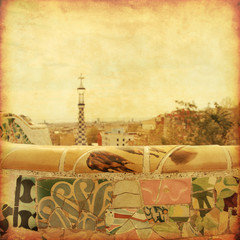 View of Barcelona from Park Guell in grunge and retro style.