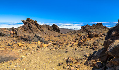 Deserted of sand and rocks at  the top of Teide volcano