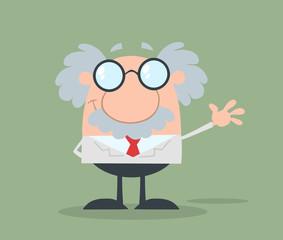 Smiling Funny Scientist Or Professor Waving Flat Design