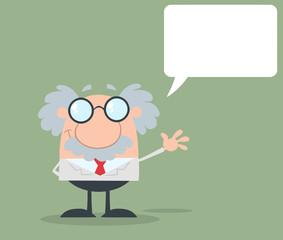 Funny Professor Waving With Speech Bubble Flat Design
