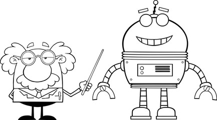 Black And White Professor Shows His Pointer A Big Robot