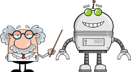 Funny Scientist Or Professor Shows His Pointer A Big Robot