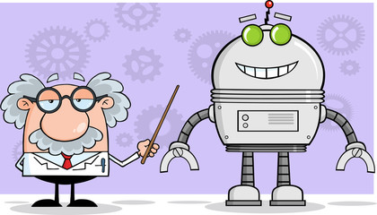 Scientist Or Professor Shows His Pointer A Big Robot