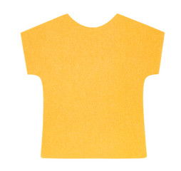 Flat orange T-shirt sticky note, isolated