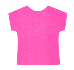 Flat pink T-shirt sticky note, isolated