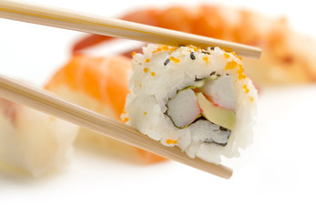 chopsticks with california maki