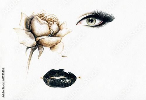 Papiers peints Portrait Aquarelle woman portrait .fashion background