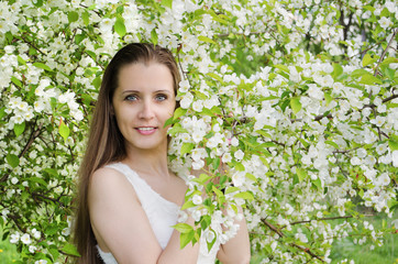 beautiful  woman with apple tree
