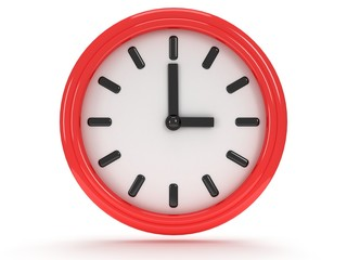 Round office clock shows three o'clock