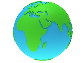 Earth planet globe. 3D render. Africa view.