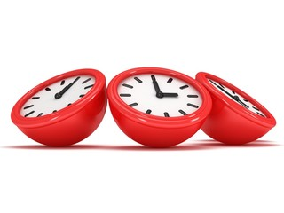 3D Round clocks shows different time