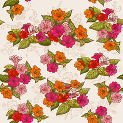 Vintage Floral Seamless Background - for design, background
