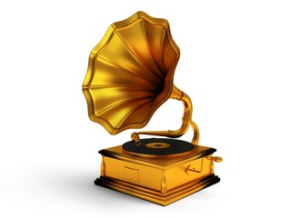 3d gold vintage gramophone isolated on white