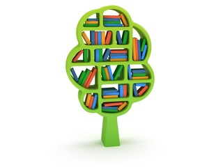 3d Tree of knowledge. Bookshelf on white.