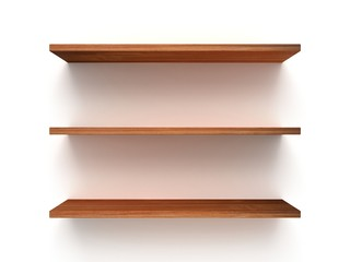 3D three empty wood shelves