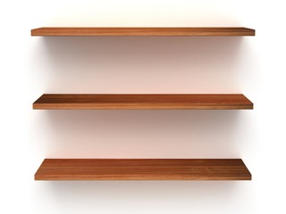 3D three empty wood shelves