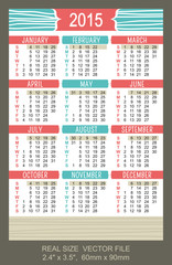 Pocket Calendar 2015, vector, start on Sunday