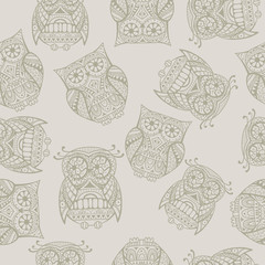 Seamless pattern with decorative  owl