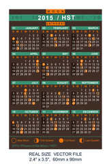 vector calendar 2015 with Phases of the moon/ HST