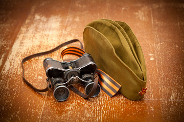 Victory Day on May 9.binoculars, field cap, George Ribbon